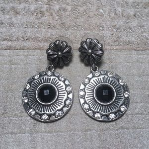 Silver Black Floral Dangle Earrings